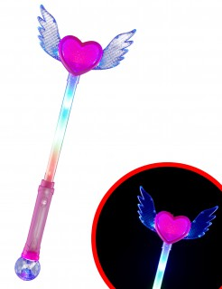 Leuchtender Zauberstab mit Herz Accessoire bunt 46,5cm