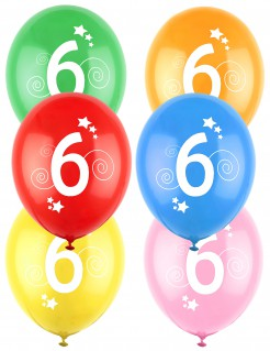12 Luftballons bunt Zahl 6