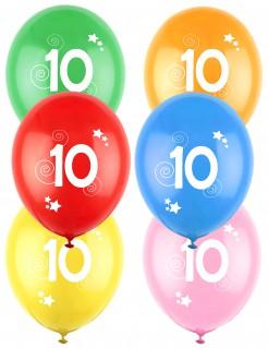 12 Luftballons bunt Ziffer 10