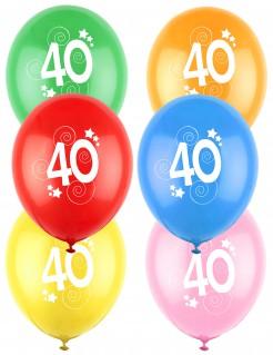 12 Luftballons Zahl 40 bunt