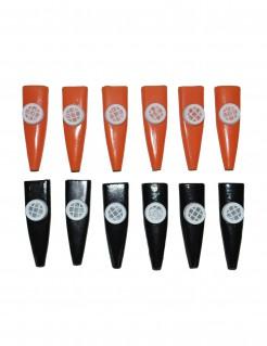 Kazoo-Set Membranophon-Set 12 Stück orange-schwarz