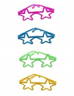 Mini-Brillen in Sternform 4 Stück Accessoire bunt