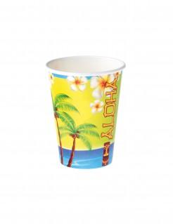 Hawaii-Trinkbecher Tischdeko 8 Stück bunt 250ml