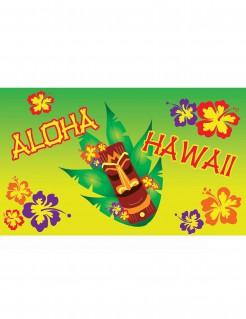 Hawaii-Partybanner mit Totempfahl bunt 90 x 150 cm