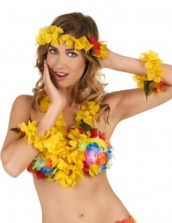 Set für Damen Hawaii gelb-bunt