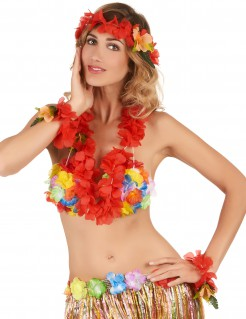 Blumen-Set Hawaii 3-teilig rot