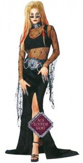 Punk Vampirin Halloween Damenkostüm schwarz-grau