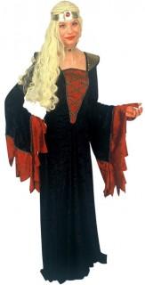 Burgfräulein Mittelalter Damenkostüm schwarz-rot