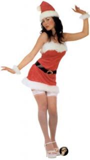Weihnachtsfrau Damenkostüm Santa rot-weiss