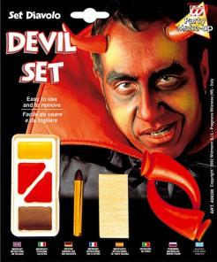 Teufel Schminkset rot-braun-gelb