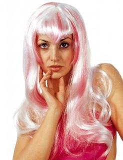 Cosplay Langhaar Perücke weiss-pink