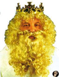 König Perücke und Bart Set blond