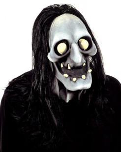 Schauriger Skelett-Dämon Halloween-Maske grau-weiss-gelb