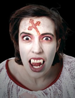 Kruzifix Latexapplikation Halloween Make-Up rot