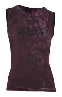 Ärmelloses Girlie Shirt Tribal violett-schwarz