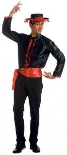 Flamenco Rüschen-Hemd Spanier mit Gürtel XL schwarz-rot