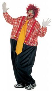 Dicker Clown Herrenkostüm schwarz-rot-gelb