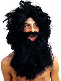 Barbar Perücke mit Bart schwarz