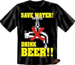 Save Water Drink Beer T-Shirt schwarz-gelb-weiss