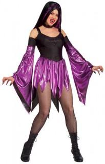 Vampir-Lady Halloween Damenkostüm schwarz-lila