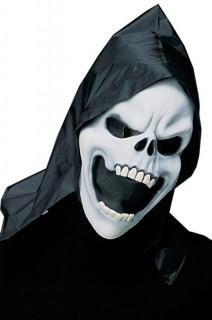 Sensenmann Halloween-Maske mit Kapuze schwarz-weiss