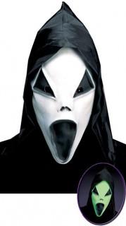 Halloween Geistermaske nachtleuchtend weiss-schwarz