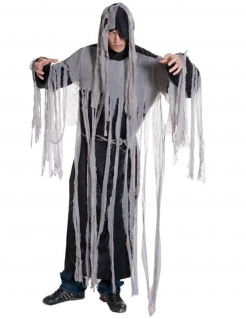 Zombie Geist Halloween-Kostüm schwarz-grau