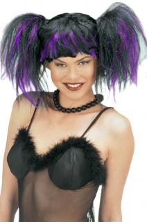 Hexenperücke Lady Chaos schwarz-violett