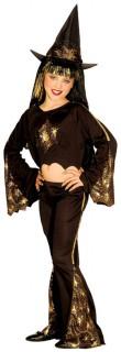 Zauberhexe Halloween Kinderkostüm schwarz-gold