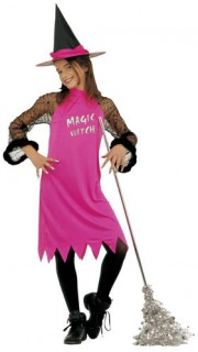 Hexe Halloween-Kinderkostüm pink-schwarz