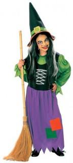 Hexe Halloween-Kinderkostüm grün-lila