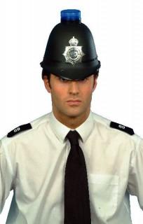 Polizei Helm mit Blaulicht schwarz-blau-silber