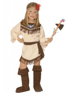 Squaw Indianerin Kinderkostüm Wildwest beige-braun