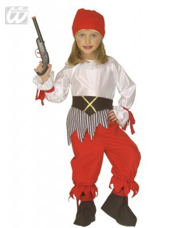 Piratenmädchen Kinderkostüm weiss-rot-schwarz