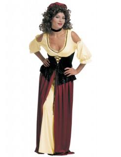 Magd Damenkostüm Mittelalter gelb-rot-schwarz
