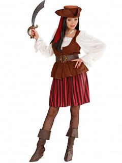 Piratin Damenkostüm Freibeuterin weiss-rot-schwarz