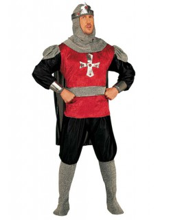 Kreuzritter Herren-Kostüm rot-grau-schwarz