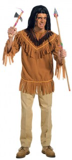 Indianer Hemd mit Fransen braun