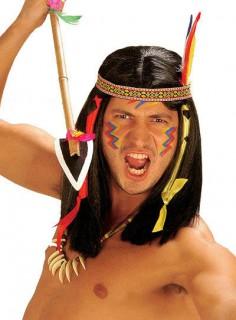 Indianer Perücke mit Stirnband schwarz-bunt