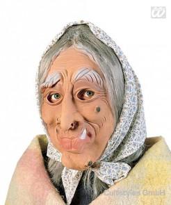 Hexen Maske mit Kopftuch beige-grau