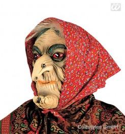 Hexen Maske mit Kopftuch beige-rot