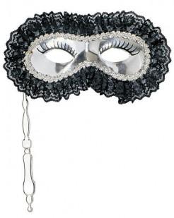 Augenmaske mit Griff silber