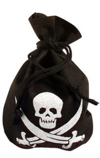 Piraten Beutel Totenkopf schwarz-weiss 24x20cm