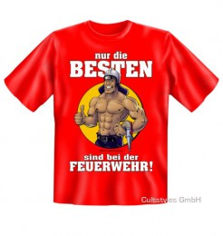 Funshirt Nur die Besten Feuerwehr T-Shirt rot-weiss-beige