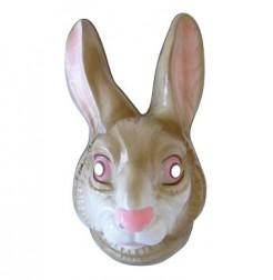 Hase Maske Halbmaske Kostümzubehör grau-weiss-rosa