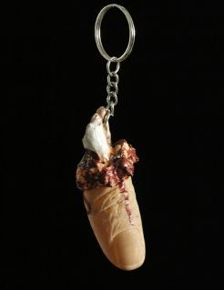 Abgerissener Finger Schlüsselanhänger beige-silber 4cm