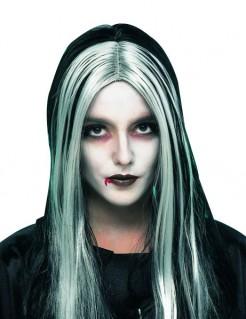 Vampirin Perücke schwarz-blau-grau