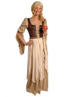 Mittelalterliche Maid Damenkostüm beige-braun