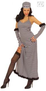 Knastgirl Damenkostüm Sträfling schwarz-weiss