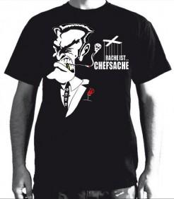 Rache ist Chefsache T-Shirt schwarz-weiss-rot
